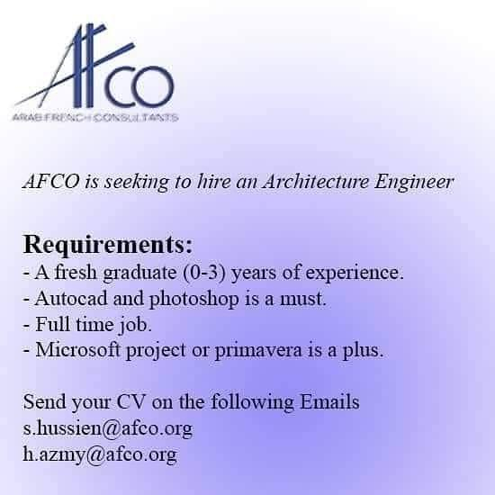 Architecture Engineer Jobs In AFCO August 2019